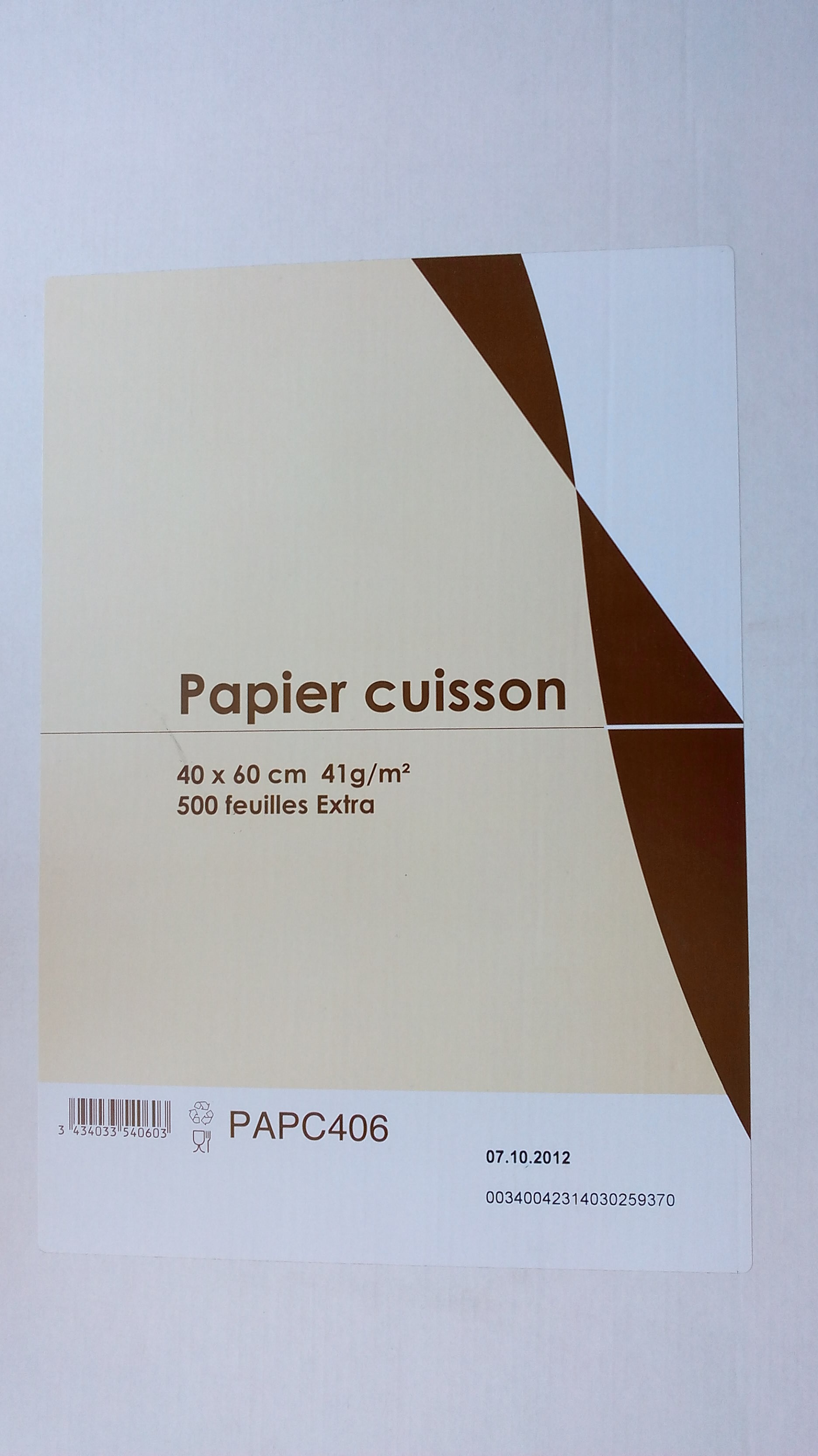 papier cuisson 40x60 41g x 500 alpes alimentaire distributions. Black Bedroom Furniture Sets. Home Design Ideas